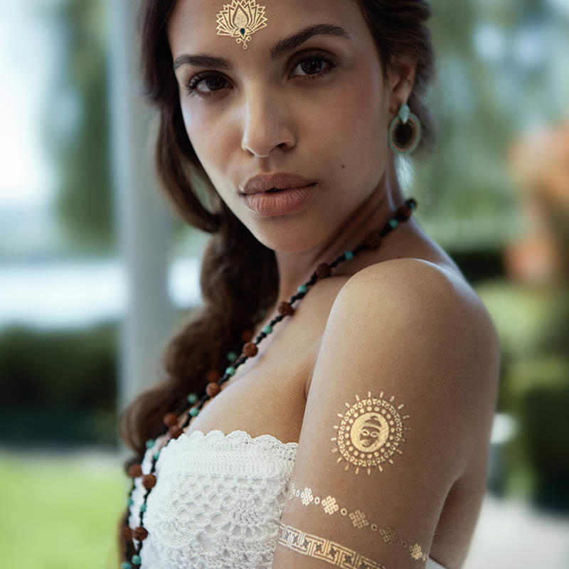 Body Art Temporary tattoos Gold Silver Designs For Women