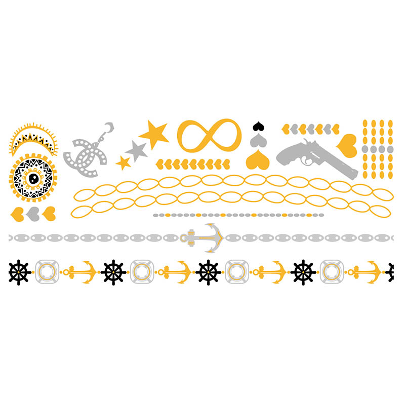 XingLiMei shimmer gold metallic temporary tattoos artist for beauty-1