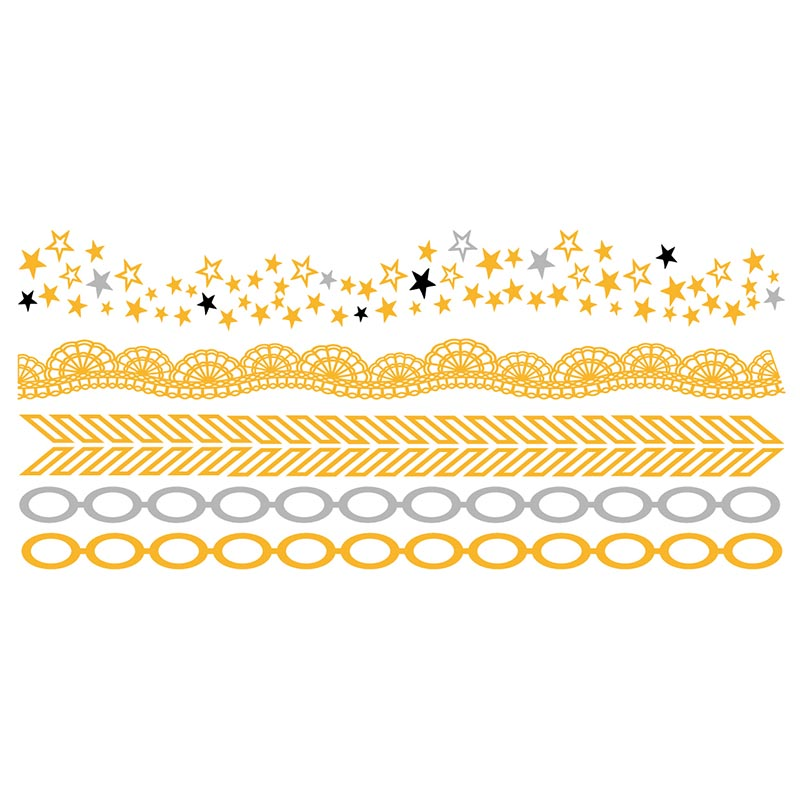 XingLiMei shimmer gold metallic temporary tattoos artist for beauty-2