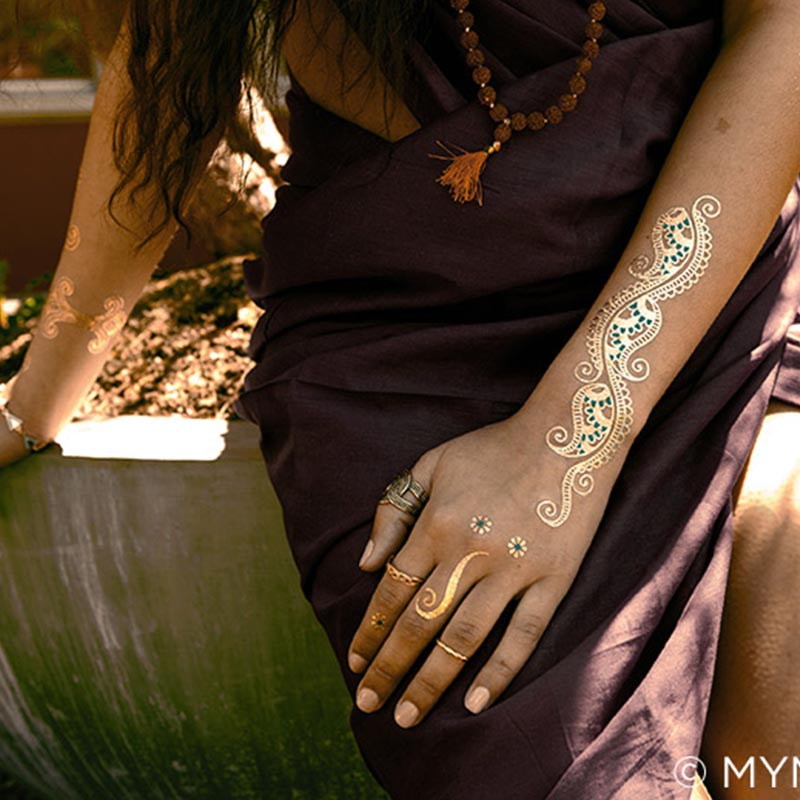 XingLiMei shimmer gold metallic temporary tattoos artist for beauty-3