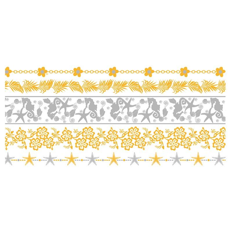gold metallic fake tattoos water patterns for face