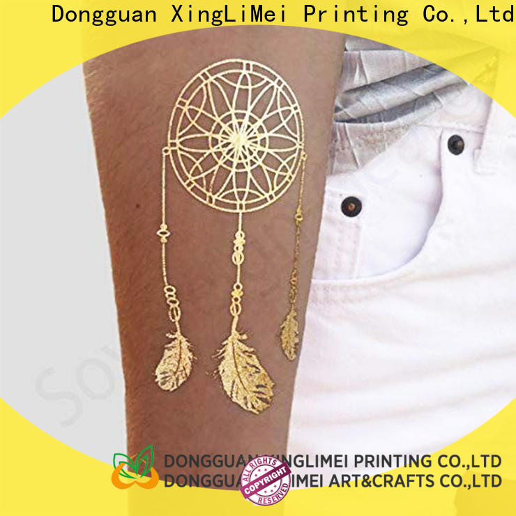 XingLiMei shiny metallic tattoo stickers patterns for necklace
