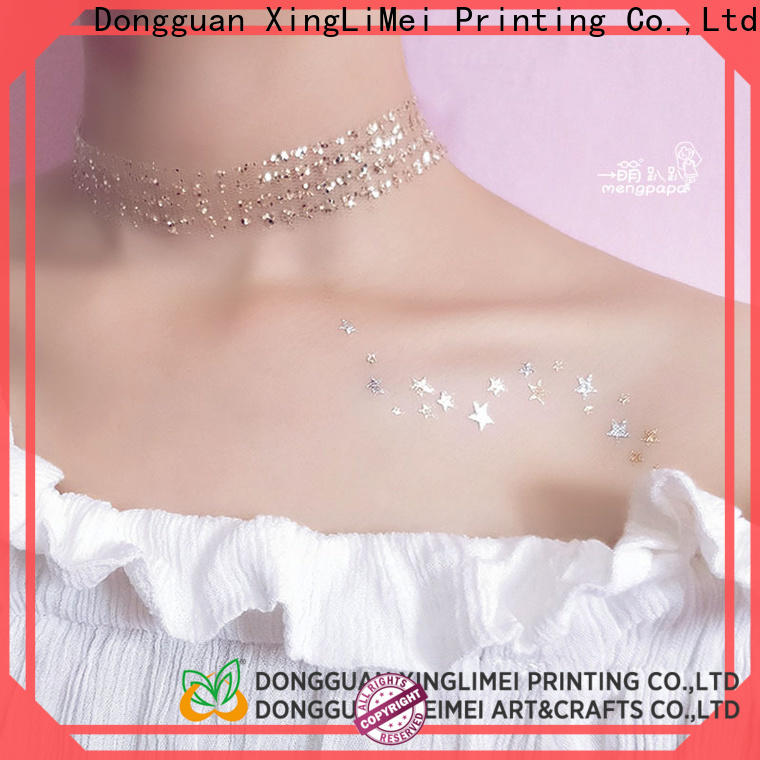 XingLiMei gold metallic body tattoos art for necklace