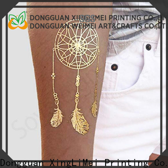 Metallic custom gold temporary tattoos jewelry supply for necklace