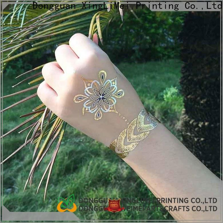 XingLiMei sexy gold metallic temporary tattoos shipped to business for face