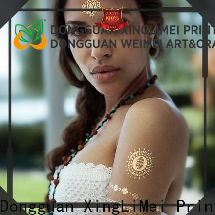 XingLiMei shiny custom gold temporary tattoos shipped to business for wedding