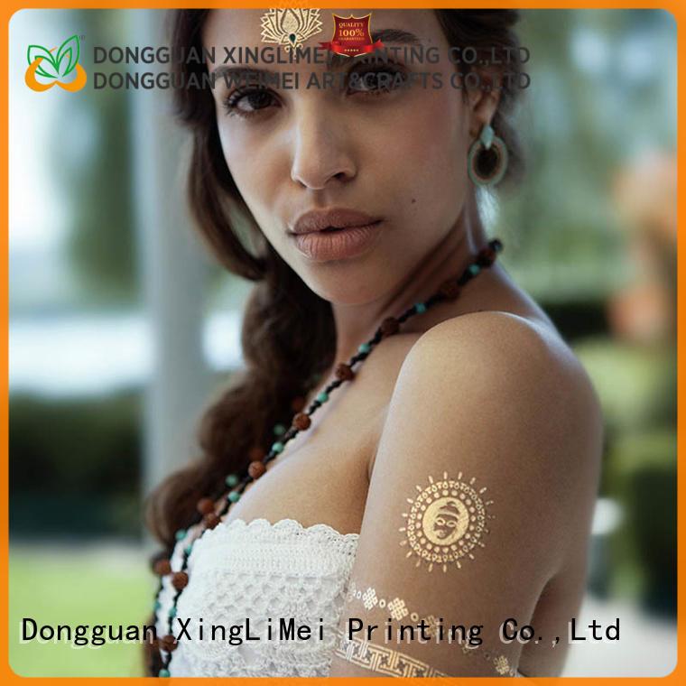 XingLiMei shiny metallic body tattoos patterns for make up