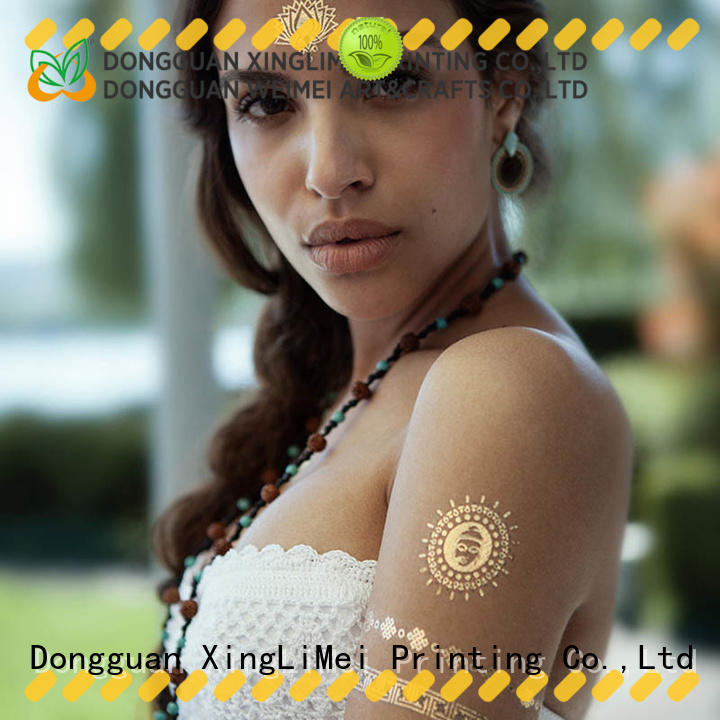 shiny metallic temporary tattoos patterns for necklace XingLiMei