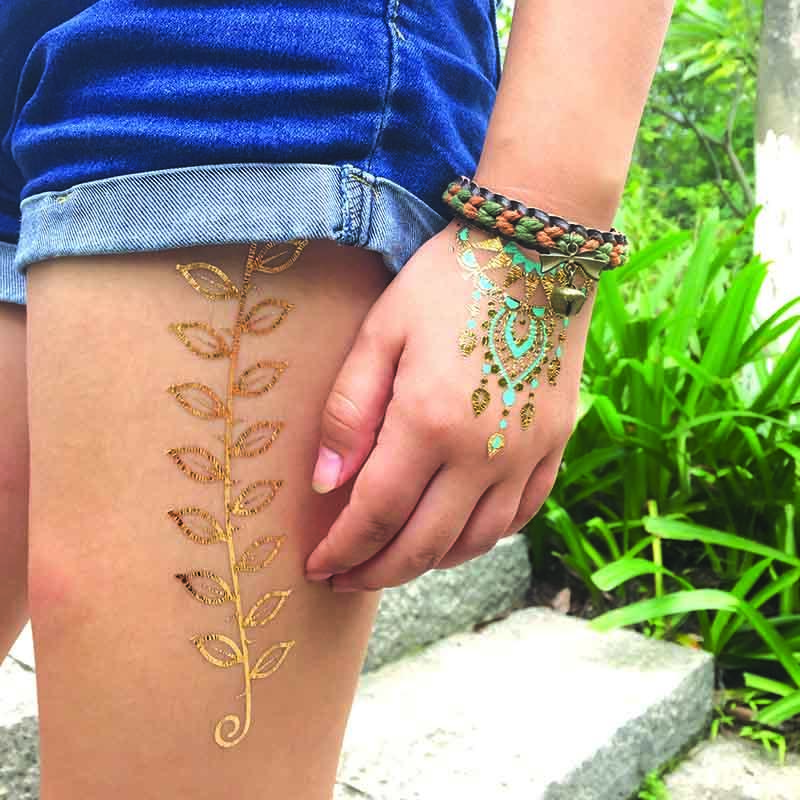 Inspired Jewelry Metallic Gold Silver Body Temporary Tattoos-3