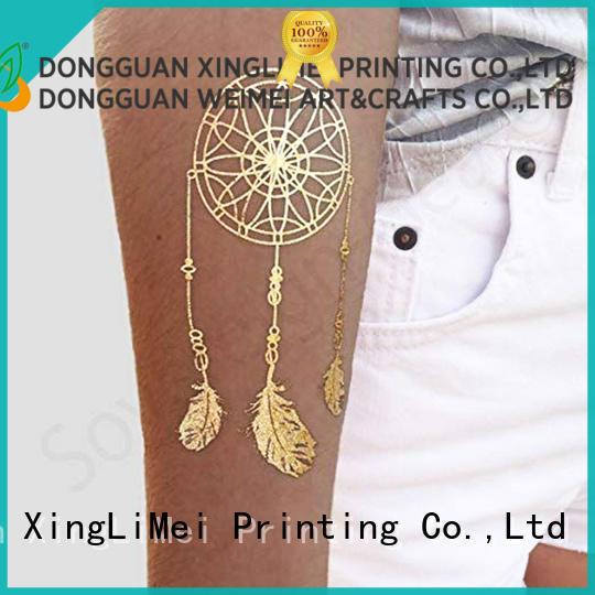 XingLiMei gold metallic transfer tattoos maker for wedding