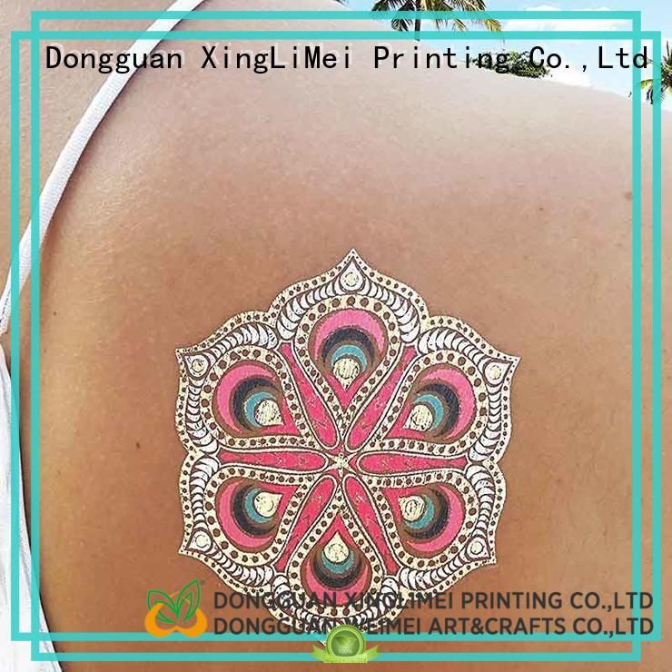 XingLiMei shimmer metallic body tattoos art for wedding
