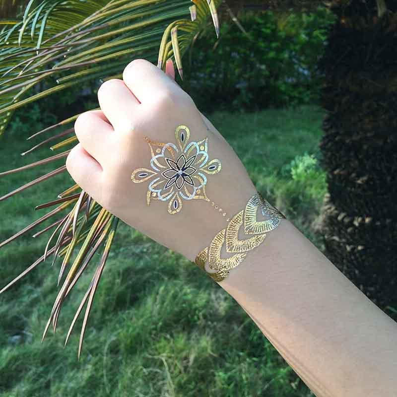Inspired Jewelry Metallic Gold Silver Body Temporary Tattoos-1