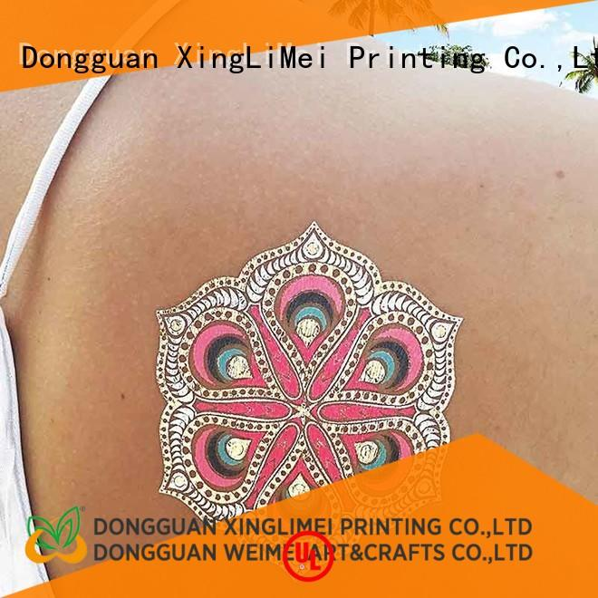 XingLiMei art metallic temporary tattoos patterns for wedding
