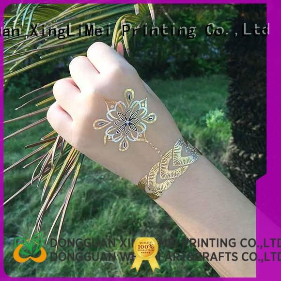 shimmer gold metallic temporary tattoos women supply for necklace
