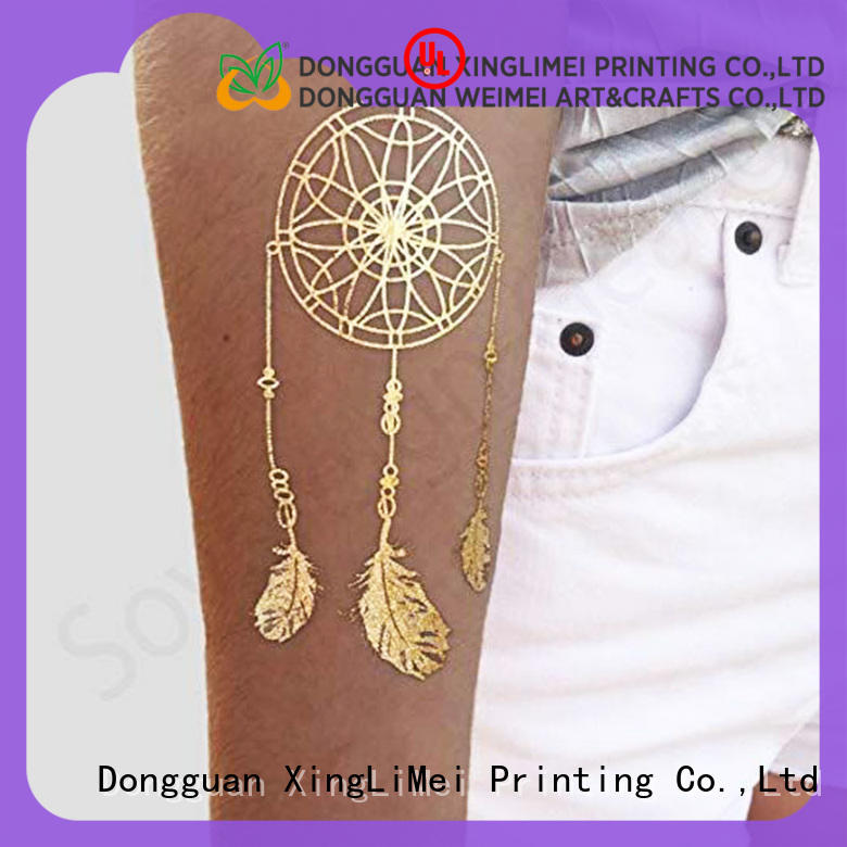 XingLiMei Metallic gold silver temporary tattoos designs for necklace