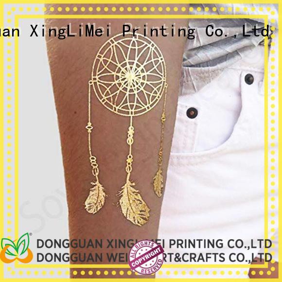 XingLiMei shimmer custom metallic temporary tattoos transfer for wedding