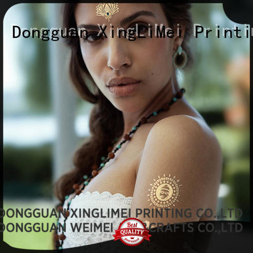 Metallic custom gold temporary tattoos body supplier for make up