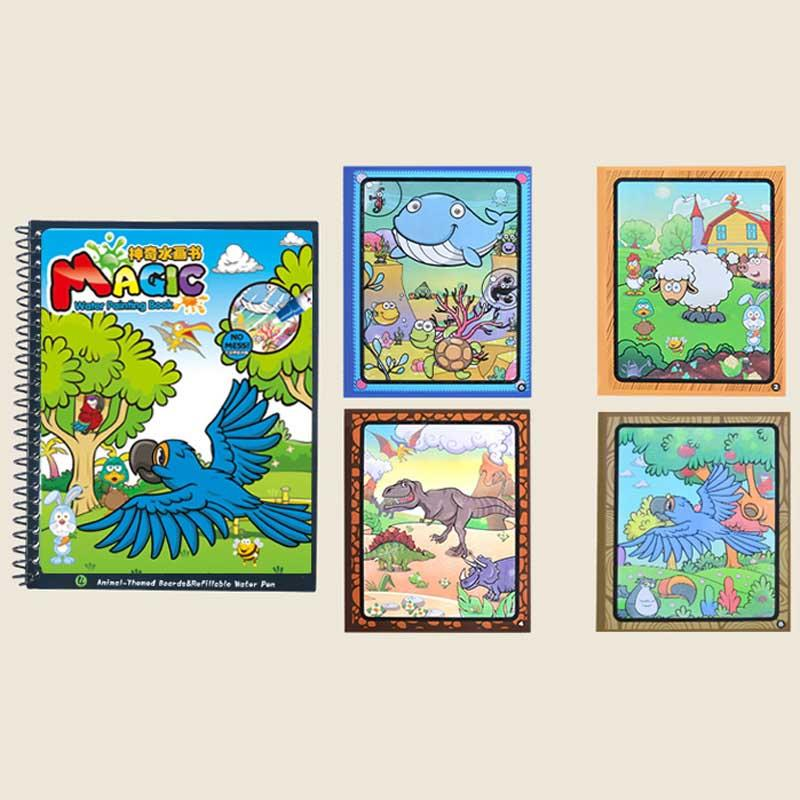 Reusable Animal Design Magic Water Painting Books